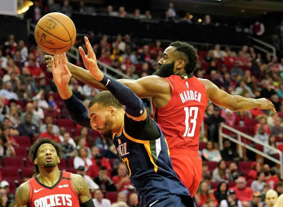 PHOTOS: 2019-20 Rockets game-by-game Houston Rockets James Harden fouls Utah Jazz Rudy Gobert during the first half of NBA game Sunday, Feb. 9, 2020, at Toyota Center in Houston. >>>See how the Rockets have fared in each game this season ... Photo: Melissa Phillip, Staff Photographer / © 2020 Houston Chronicle