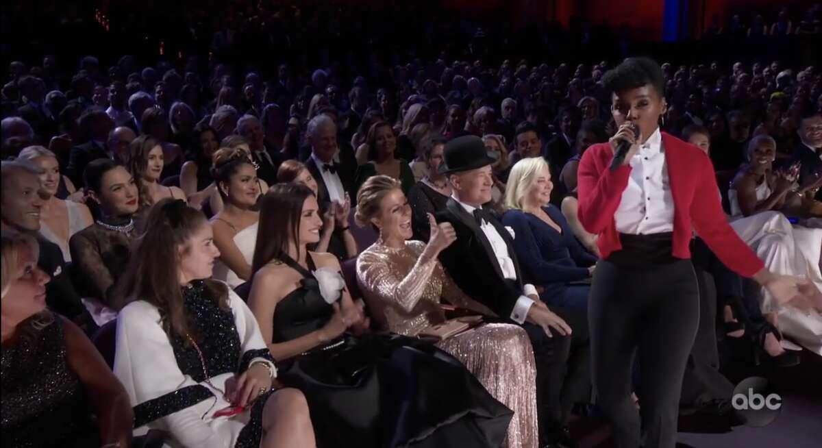Tom Hanks just moments afterJanelleMonaegave him her hat during her jazzy rendition of