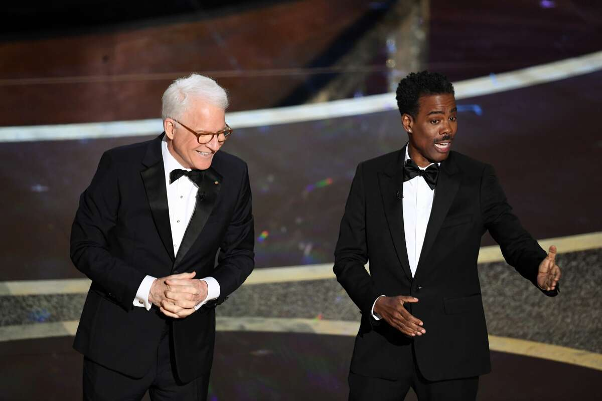 (L-R) Steve Martin and Chris Rock speak onstage during the 92nd Annual Academy Awards at Dolby Theatre on February 09, 2020 in Hollywood, California.