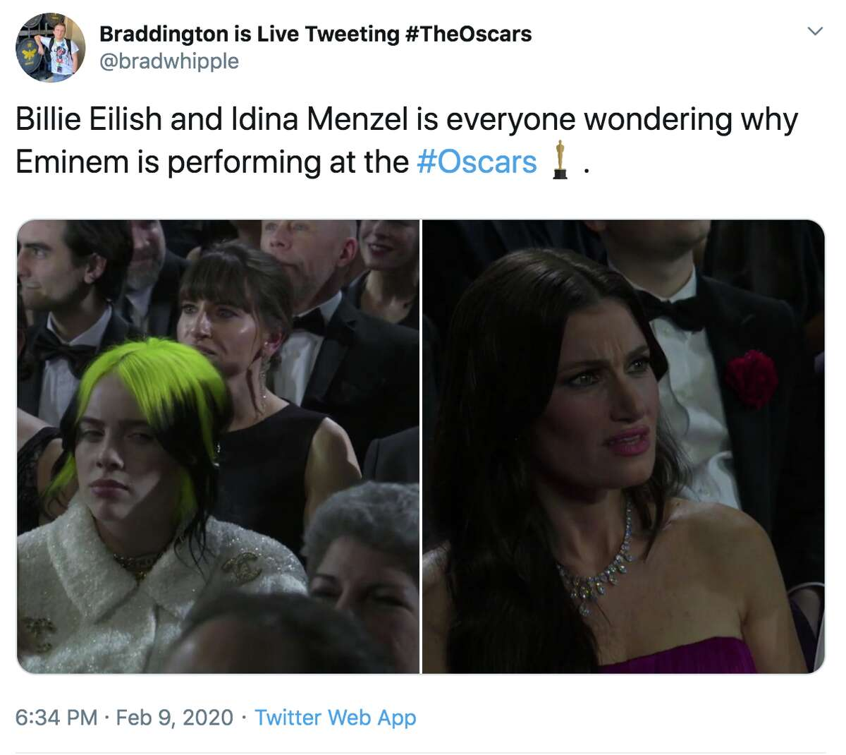 Twitter hilariously reacts to Eminem's surprise performance at the Oscars.
