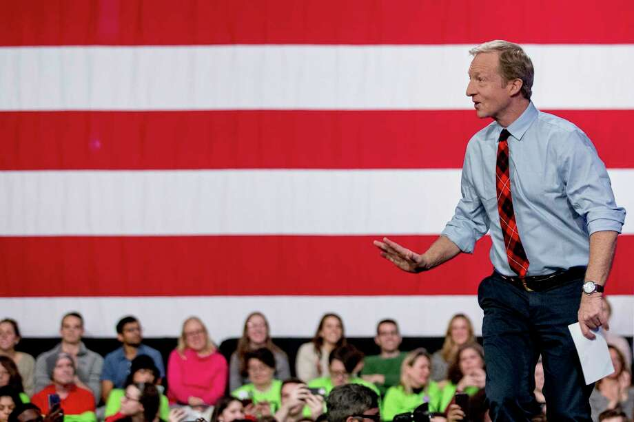 El aspirante demócrata a la Casa Blanca, Tom Steyer, llega un acto de campaña en el Concord Community College, en New Hampshire, el sábado 8 de febrero de 2020. Photo: Andrew Harnik /Associated Press / Copyright 2020 The Associated Press. All rights reserved