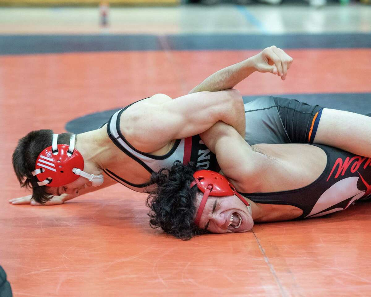Ben Cantrambone, of Niskayuna, defeats Marcus Berroa, of Guilderland in the 132-pound division of the Section II, Class A finals at Bethlehem High School in Delmar NY on Saturday, Feb. 8, 2019 (Jim Franco/Special to the Times Union.)