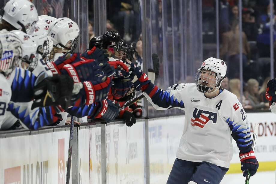 Hilary Knight celebrates after scoring for the U.S. against Canada in the Rivalry Series finale in Anaheim on Saturday. Photo: Chris Carlson / Associated Press