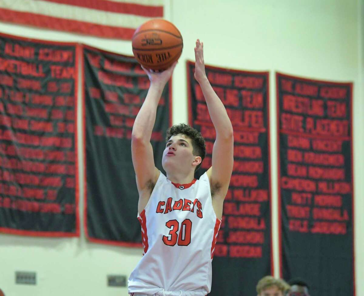 James Thompson of the Albany Academy puts up a shot during their game against Rome Free Academy on Sunday, Feb. 9, 2020, in Albany, N.Y. (Paul Buckowski/Times Union)