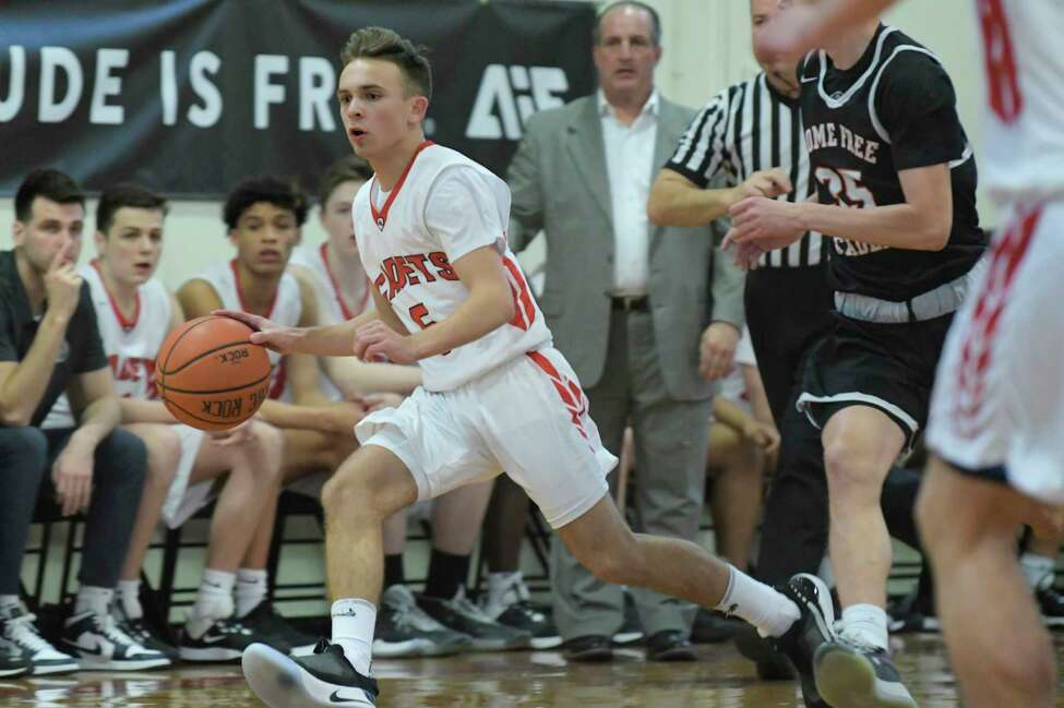 Derek Collett of the Albany Academy brings the ball up the court during their game against Rome Free Academy on Sunday, Feb. 9, 2020, in Albany, N.Y. (Paul Buckowski/Times Union)