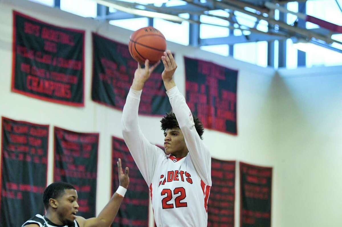 Andre Jackson of the Albany Academy puts up a shot during their game against Rome Free Academy on Sunday, Feb. 9, 2020, in Albany, N.Y. (Paul Buckowski/Times Union)