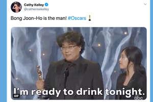 "Tweets about South Korean director Bong Joon-ho's Oscar-winning film ""Parasite."""