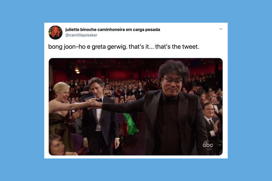"Tweets about South Korean director Bong Joon-ho's Oscar-winning film ""Parasite."" Photo: Twitter"