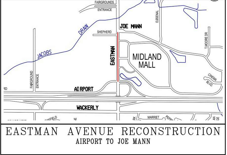Plans to reconfigure Eastman Avenue in Midland include adding a southbound right turn lane and a southbound thru lane at the intersection of Airport Road. (Agenda photo)