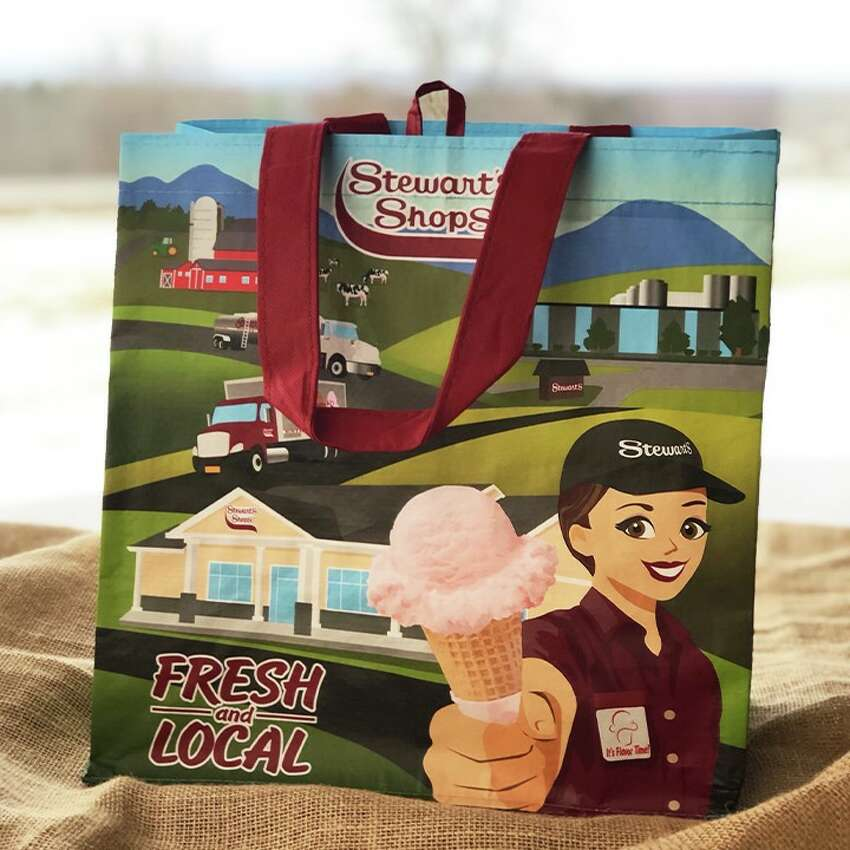 The 99 cent Stewart's Shops bag is being sold now in all stores as the company gets ready for the March 1 plastic bag ban.