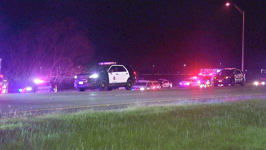 One teenager was killed and a second hospitalized in serious condition after a car crash near Loop 410 and Old Pearsall Road Sunday night. Photo: Ken Branca