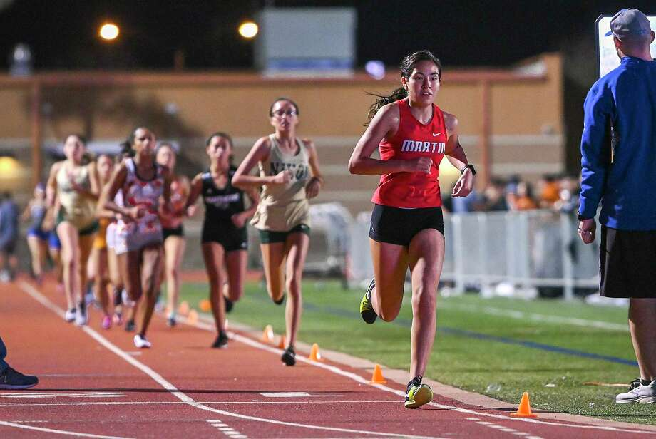 Martin's Samantha Gonzalez won the 3,200-meter run at the LISD Invitational Friday. Photo: Danny Zaragoza /Laredo Morning Times / Laredo Morning Times