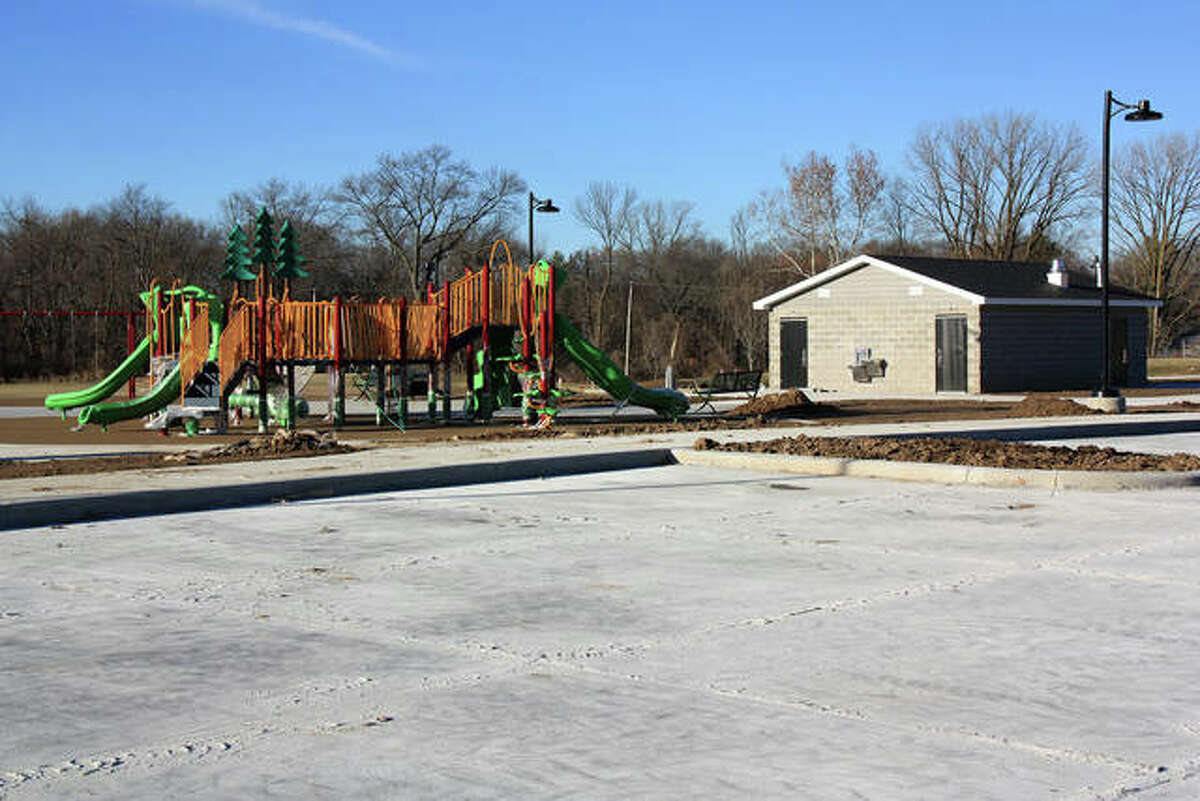 A shot of Schon Park's playground and restrooms, taken in December 2018.
