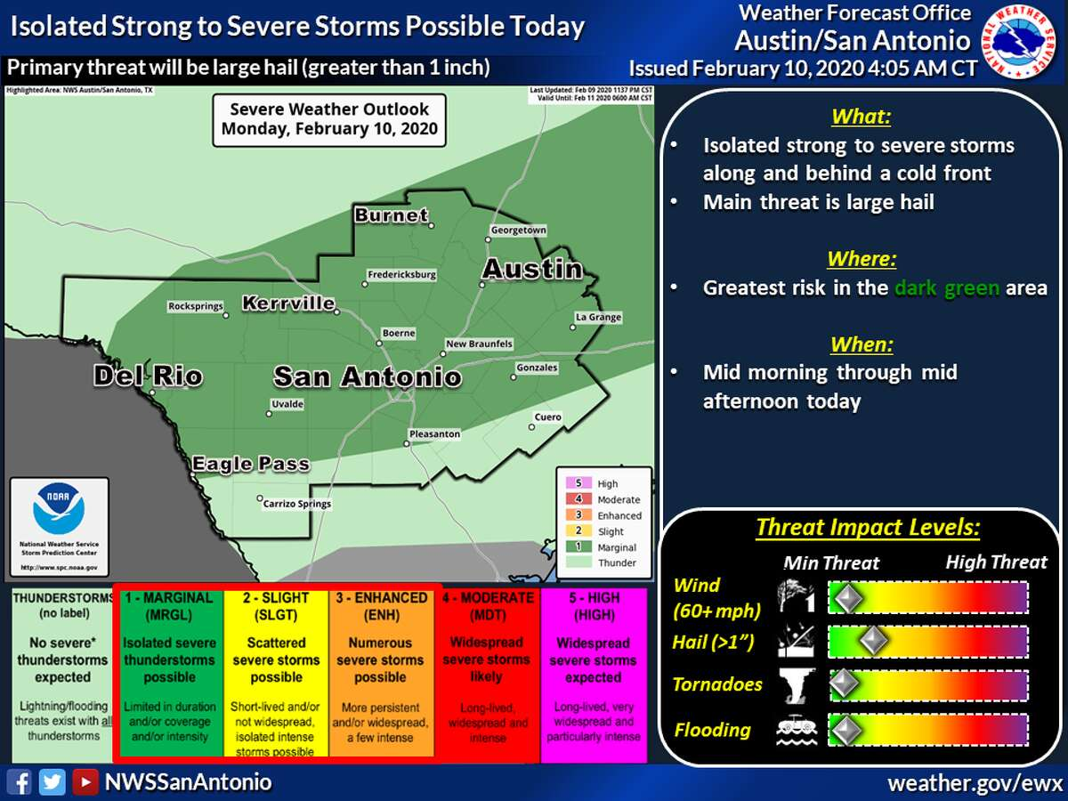 A slow-moving storm system threatens to bring severe weather and hail to the San Antonio-area on Monday, according to the National Weather Service.