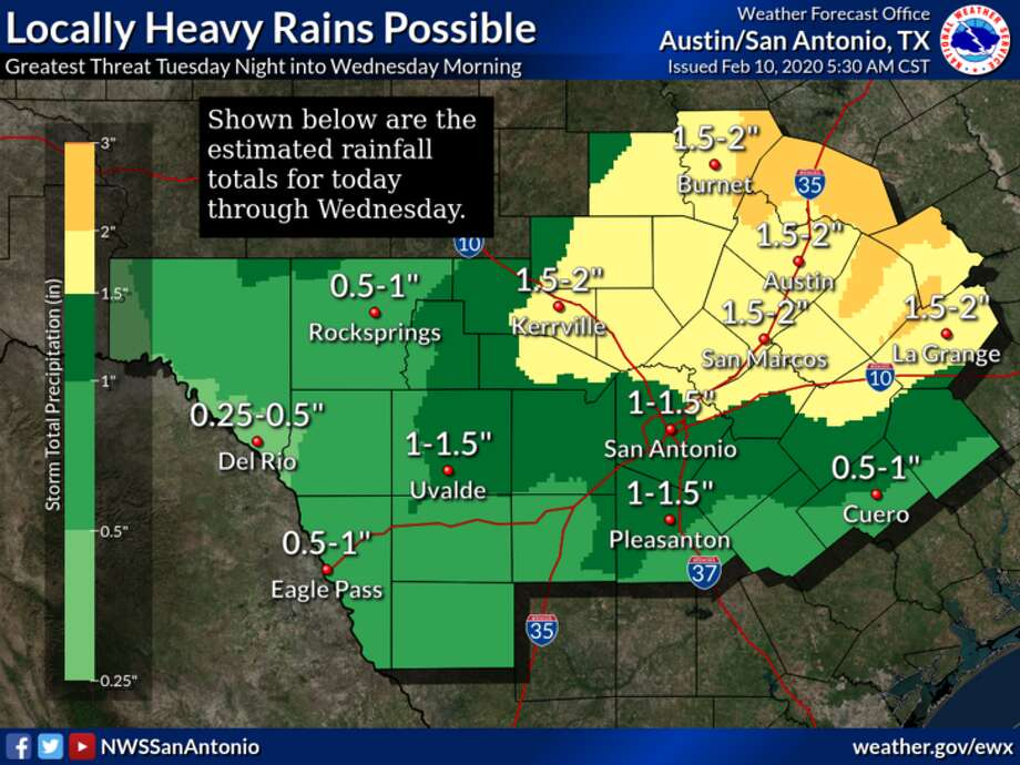 A slow-moving storm system threatens to bring severe weather and hail to the San Antonio-area on Monday, according to the National Weather Service. Photo: National Weather Service