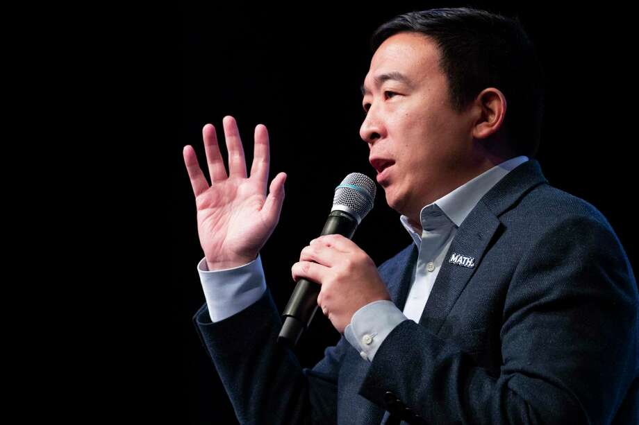 Democratic presidential candidate entrepreneur Andrew Yang speaks during the New Hampshire Youth Climate and Clean Energy Town Hall Feb. 5 in Concord, N.H. Photo: Mary Altaffer / Associated Press / Copyright 2020 The Associated Press. All rights reserved.