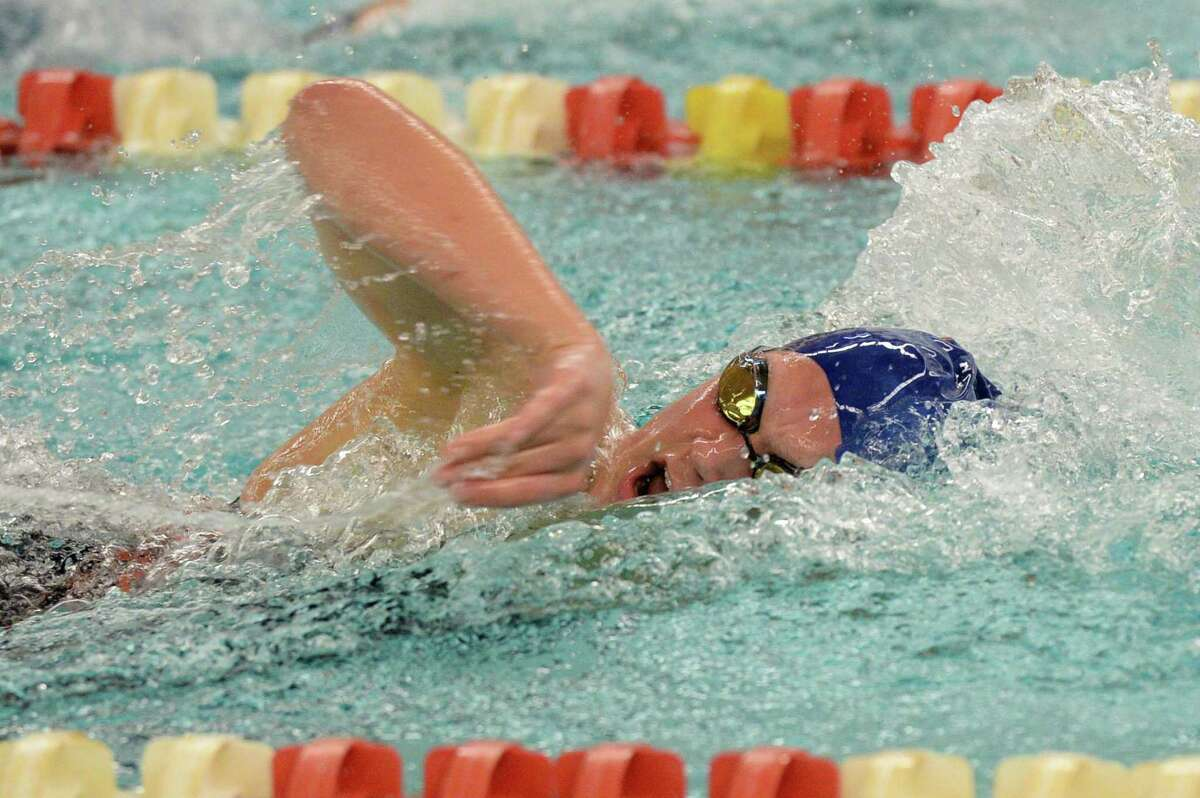 Maddie Welborn of the Seven Lakes Spartans competes in the girls 200 yard freestyle event during the District 19-6A Swimming and Diving Championships on January 18, 2020 at the Katy HS Natatorium, Katy, TX.