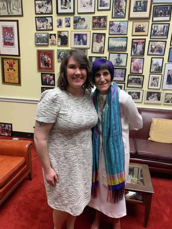Shelton resident Kristen Whitney Daniels with Congresswoman Rosa DeLauro at the State of the Union Tuesday, Feb. 4. Photo: Contributed Photo / Connecticut Post