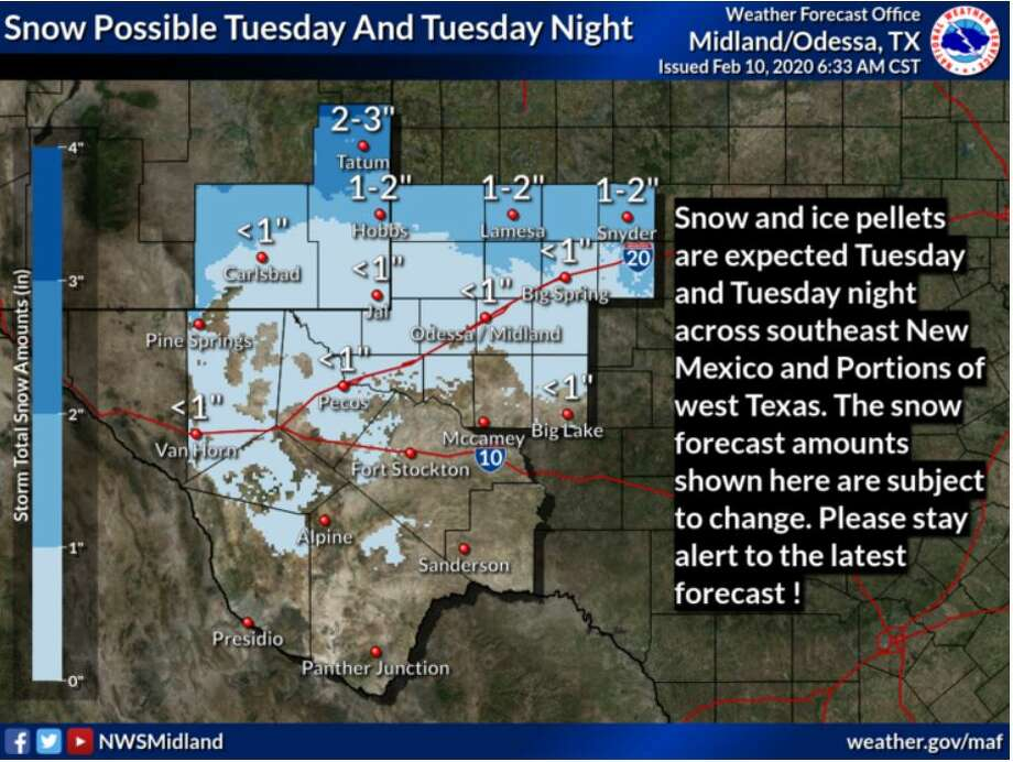This is a first guess on snow and ice pellet accumulations possible across southeast New Mexico and portions of west Texas Tuesday through early Wednesday morning.  Photo: NWS Midland/Odessa
