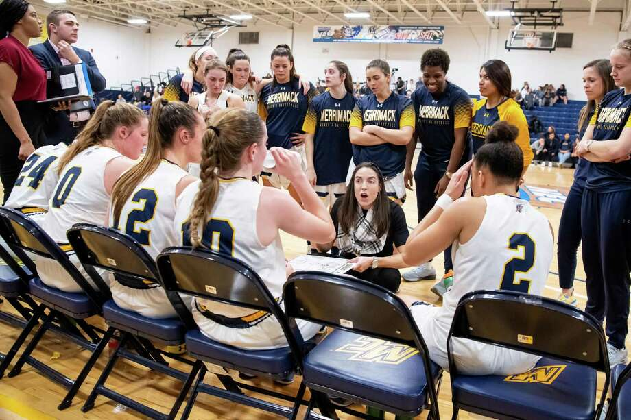 Members of Merrimack College's womens' basketball team, here with their coach Monique LeBlanc, spent time at the Depot after their team bus got into an accident off I95. LeBlanc said it was exactly what the team needed. Photo: Merrimack College / / jimstankie@gmail. com 603-494-0711