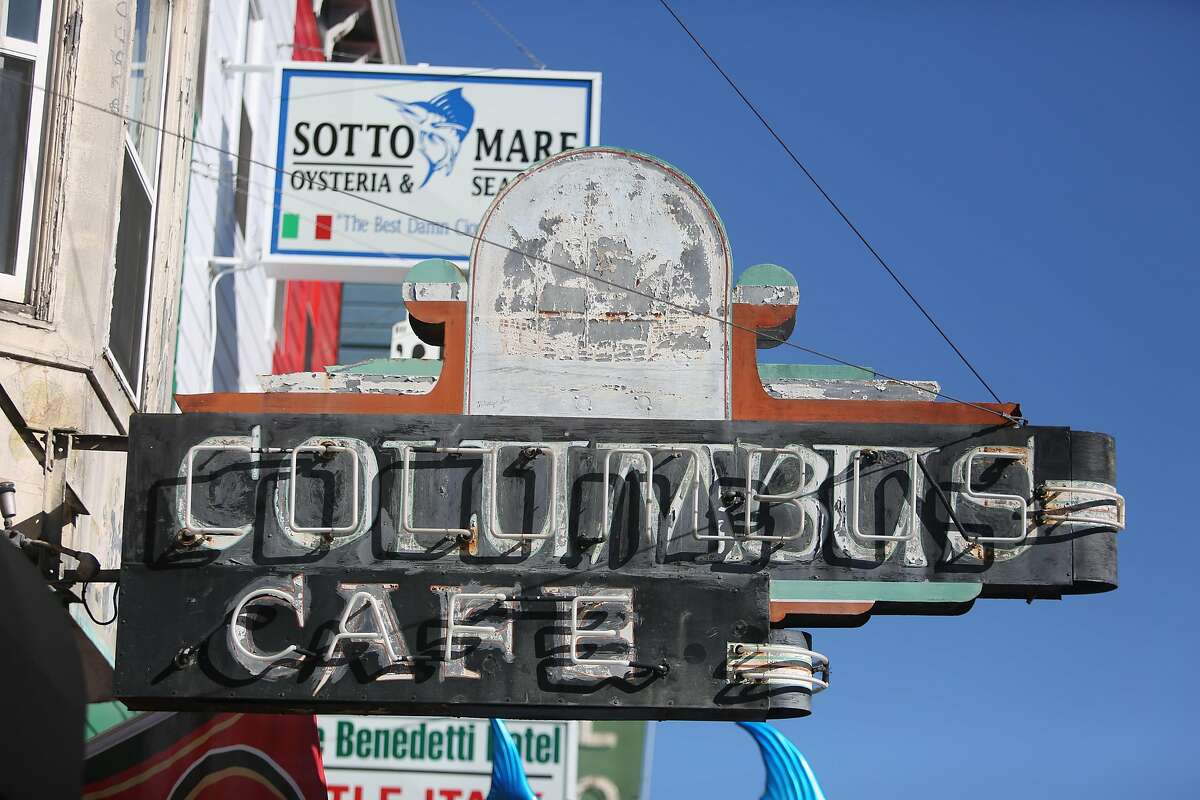 The Columbus Cafe sign is seen outside the business on Thursday, February 6, 2020 in San Francisco, Calif.