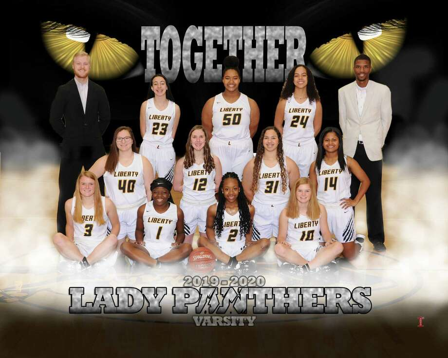 The Lady Panthers basketball team is on the verge of returning to the UIL state playoffs again after a one-year hiatus. Lady Panthers are from left, front row, Kennedy Evans, Cheyenne Williams, Drelyn Willis, and Reese Evans. Middle row, from left, Claire Bond, Olivia Moore, Kamryn Turner, and Aliyah Dugat. Back row, from left, Coach Chase Sylvia, Madyson Goudeau, Nailah Donatto, Morgan Vaughn, and Coach Justin Littlejohn. Photo: Submitted