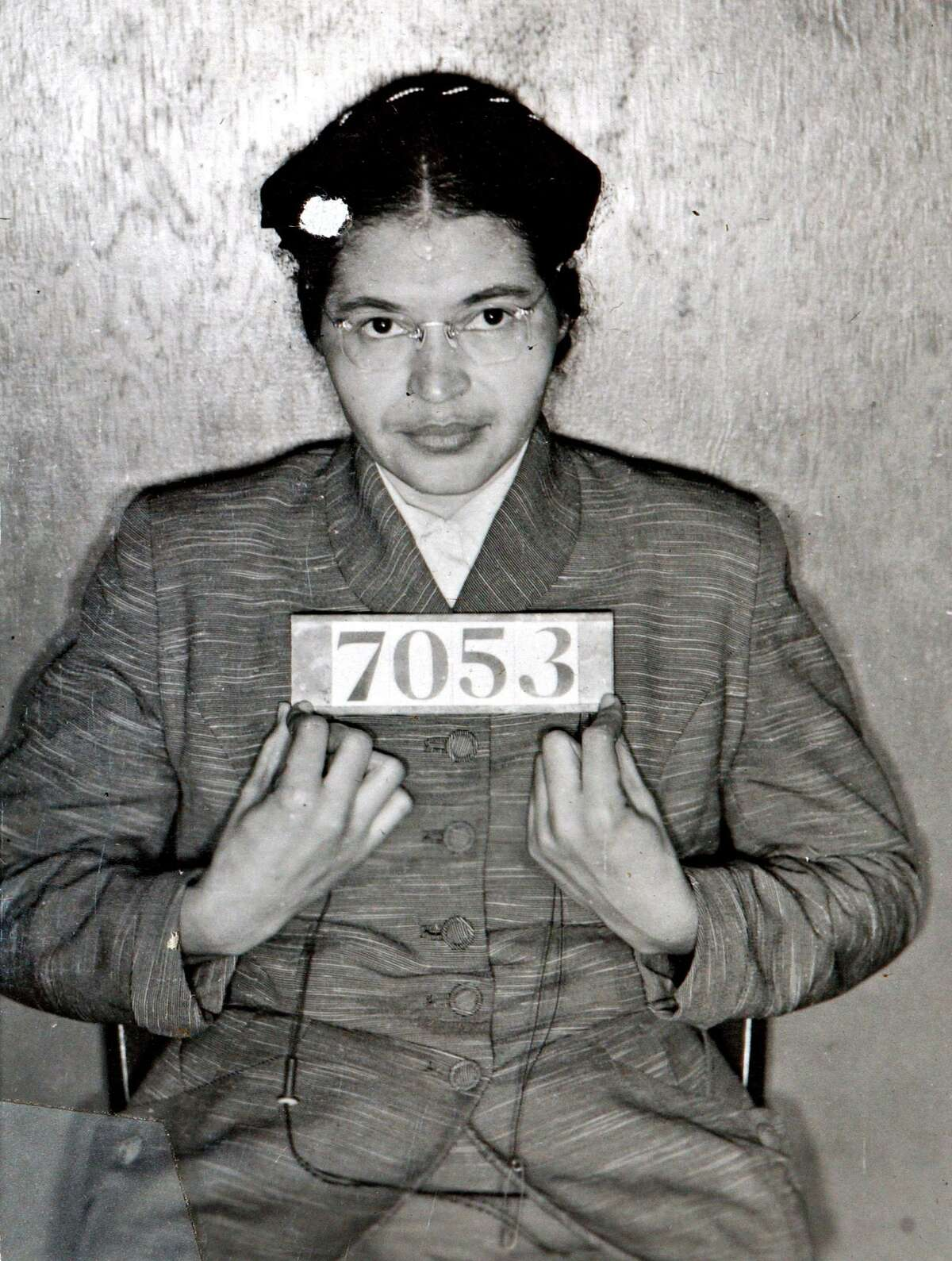 The Feb. 22, 1956 file photo shows Rosa Parks after she was arrested for refusing to give up her seat on a bus for a white passenger on Dec. 1, 1955 in Montgomery, Ala. The 50th anniversary of her arrest will be celebrated next Thursday Dec. 1, 2005, with a daylong series of events that includes a children's march to the Capitol in Montgomery.