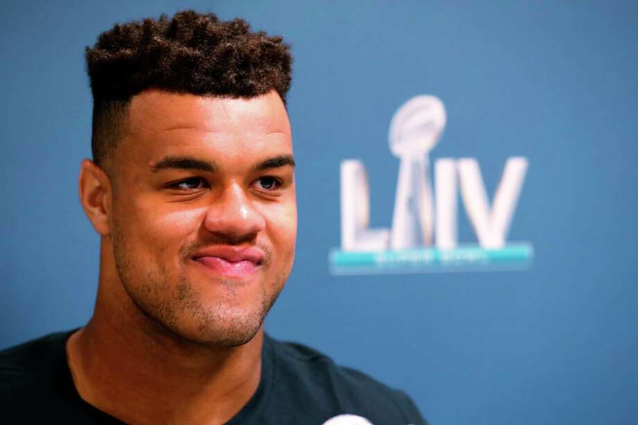 San Francisco 49ers defensive end Arik Armstead speaks during a media availability for the NFL Super Bowl 54 football game, on Tuesday, Jan. 28, 2020, in Miami. Photo: Wilfredo Lee, AP / Copyright 2020 The Associated Press. All rights reserved.