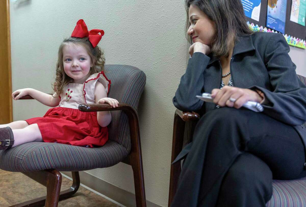 Dr. Lukena Karkhanis, right, talks Thursday, Feb. 6, 2020 with patient Claire Mancuso during an appointment at Allergy Asthma and Immunology Associates of South Texas. Mancuso will beginning taking a newly-approved peanut allergy medicine as soon as it makes it to office.