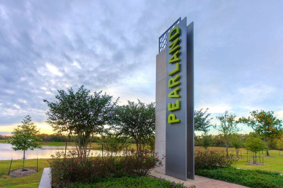 "The Pearland Economic Development Corp. is installing monuments at key spots along thoroughfares at the city limits. Notice that the letters ""Pearl"" in ""Pearland"" are in a lighter shade than the rest of the name. That's intended to help newcomers know how to pronounce the city's name instead of saying ""Pearl land."" Photo: Courtesy Pearland Economic Development Corp."