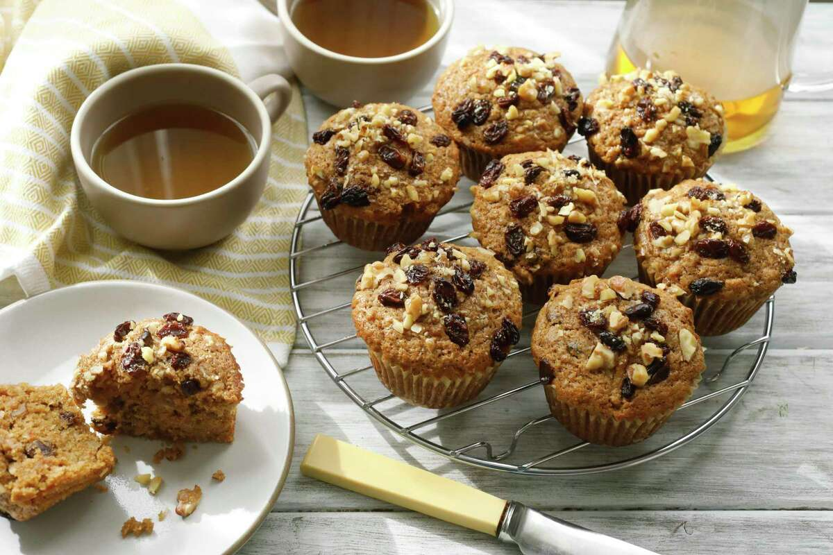 The DASH Diet emphasizes whole grains and fruit. Morning glory muffins are made from whole grain flour, shredded apple and carrot, dried fruit and nuts, with a touch of coconut, cinnamon and brown sugar to soften the health-food feel.