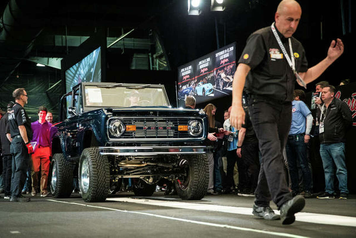 The 1974 Ford Bronco built by Hamel-based Gateway Bronco for NASCAR driver Ryan Blaney hits the block in Arizona. Gateway Bronco now holds a world record title for selling the Bronco for $650,000 at a Barrett Jackson auction last month.