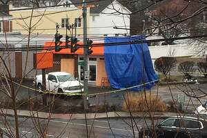 The Chocoylatte Gourmet bakery and cafe on the Post Road was severely damaged after it was struck by a car last week. The business remains closed.