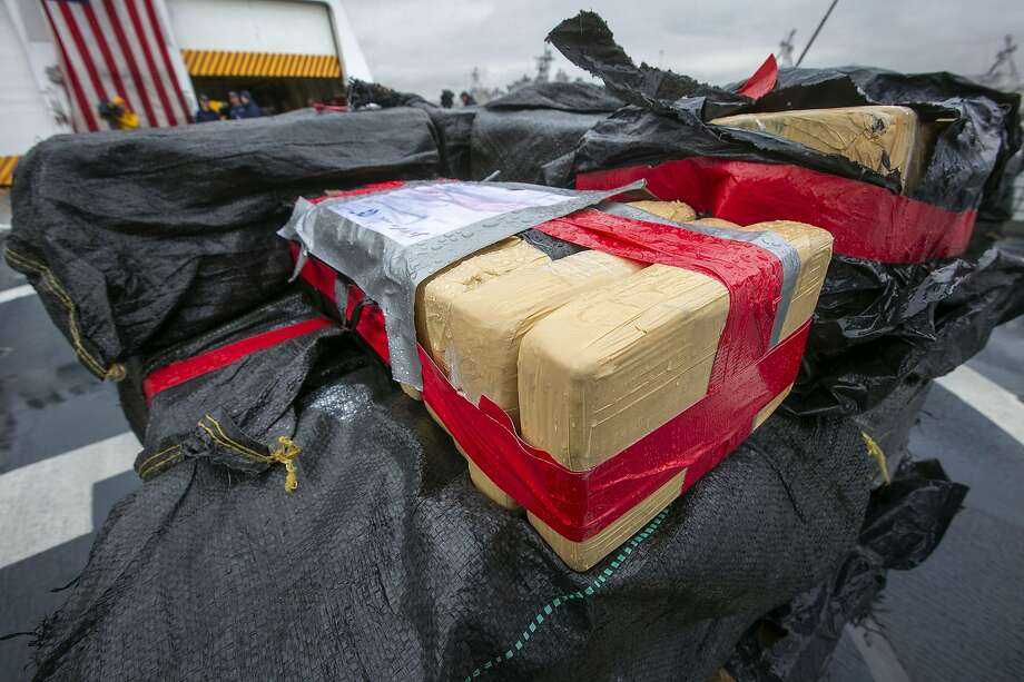 The crew of the Coast Guard Cutter Munro offloaded 20,000 pounds of uncut cocaine seized from known drug-transit zones of the Eastern Pacific Ocean worth approximately $338 million at Naval Station San Diego on Monday, Feb.  10, 2020. (John Gibbins/The San Diego Union-Tribune via AP) Photo: John Gibbins, Associated Press