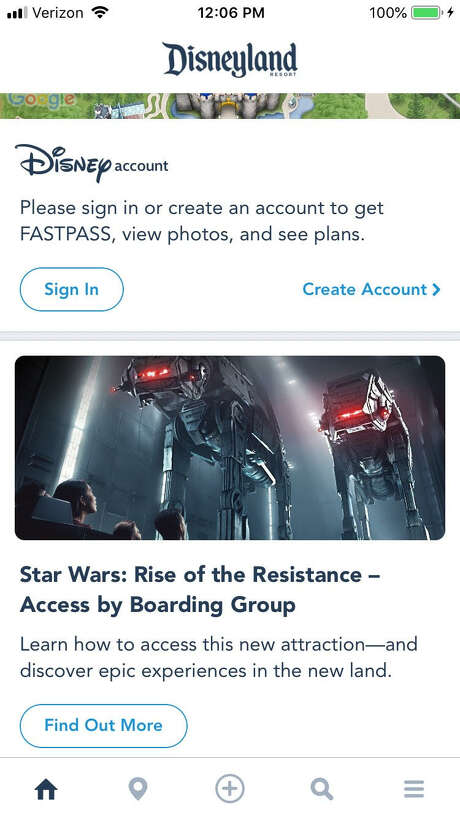The home screen of the Disneyland app features a direct link to Rise of the Resistance information. Photo: Screenshot