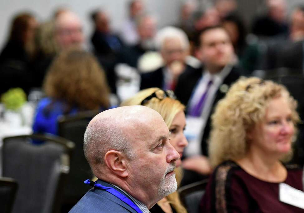 Troy Mayor Patrick Madden attends the New York Conference of Mayors' winter legislative meeting where Lt. Gov. Hochul spoke during a luncheon on Monday, Feb. 10, 2020, in Colonie, N.Y. (Will Waldron/Times Union)