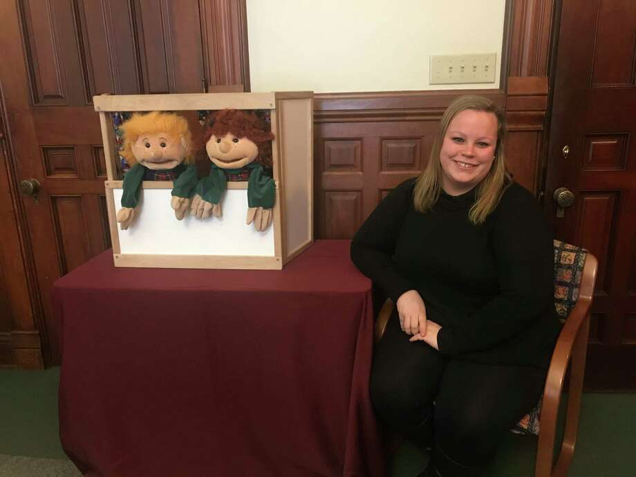 Susan B. Anthony Project Community Educator Amanda Moreau presents a puppet show to teach children about safe and unsafe touches. Photo: Contributed Photo