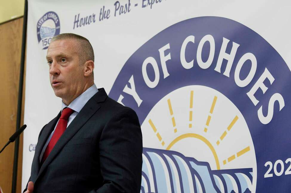 Cohoes Mayor Bill Keeler delivers his first state of the city speech at the Cohoes Senior Center on Monday, Feb. 10, 2020, in Cohoes, N.Y. (Paul Buckowski/Times Union)