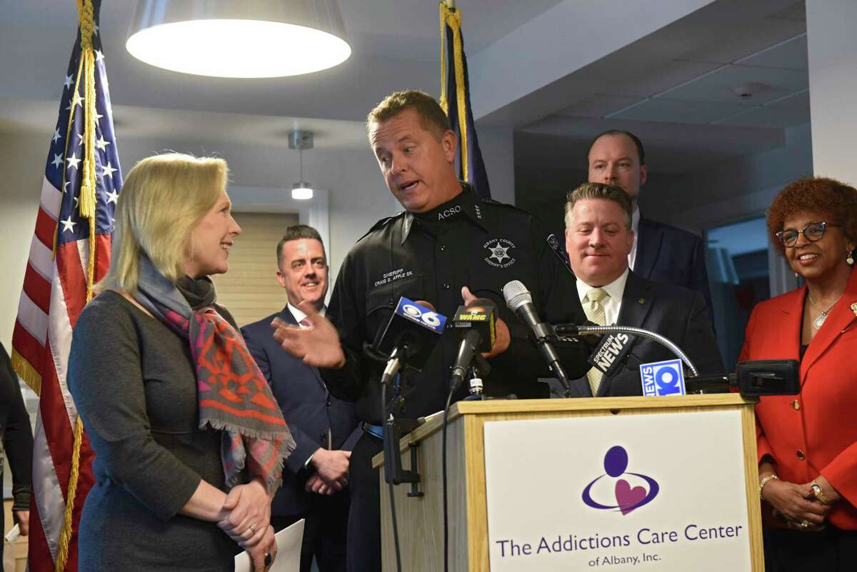 Albany Sheriff Craig Apple thanks U.S. Senator Kirsten Gillibrand for visiting The Addictions Care Center of Albany, Inc. to announce her bipartisan legislation that would provide families with the tools they need to support their loved ones living with addiction on Monday, Feb. 10, 2020 in Albany, N.Y. (Lori Van Buren/Times Union)