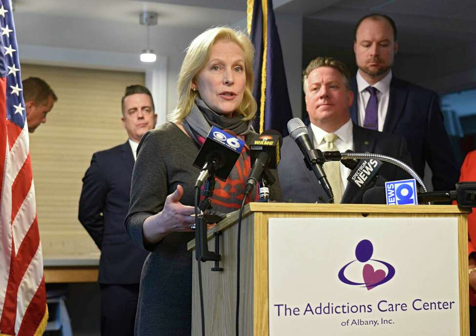 U.S. Senator Kirsten Gillibrand visits The Addictions Care Center of Albany, Inc. to announce her bipartisan legislation that would provide families with the tools they need to support their loved ones living with addiction on Monday, Feb. 10, 2020 in Albany, N.Y. (Lori Van Buren/Times Union)