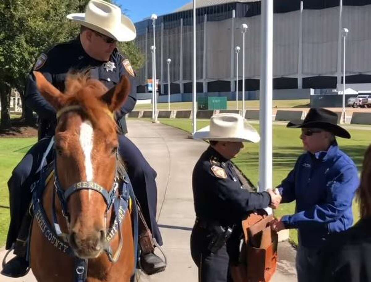 In honor of 71 years of tradition, officers from the Harris County Sheriff's Office Mounted Patrol unit left Houston on horseback Saturday to travel all the way to the state capitol and hand-deliver invitations to the Houston Livestock Show and Rodeo (HLSR) to state officials.