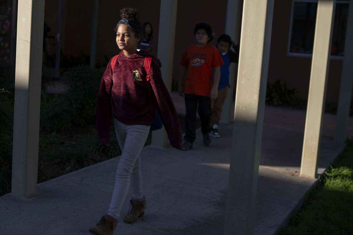 Rihanna Briseño, 12, participates in after school programming at Good Samaritan Community Services in San Antonio, Texas, Jan. 23, 2020. UTSA is working with West Side youth at Good Samaritan Community Services to study ways they can overcome trauma, which Rihanna took part in last fall. According to a survey Good Samaritan did last year, over half of the youth in the area are being raised by a single mother with food insecurity, low levels of literacy, low school performance and a high crime rate. The curriculum and lessons developed for the class last fall was designed to talk about regulating emotions, managing stress, developing empathy, building a support system and more.