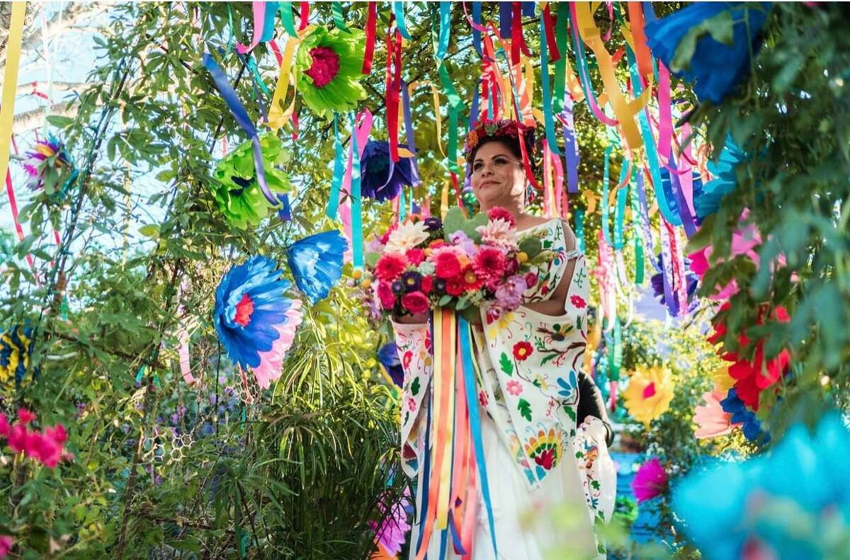Elida Cervantes-Stranahan at her Día de los Muertos-themed wedding. She said she and her husband Chad Stranahan liked the idea of celebrating friends and relatives who've died, but not in a sad way.