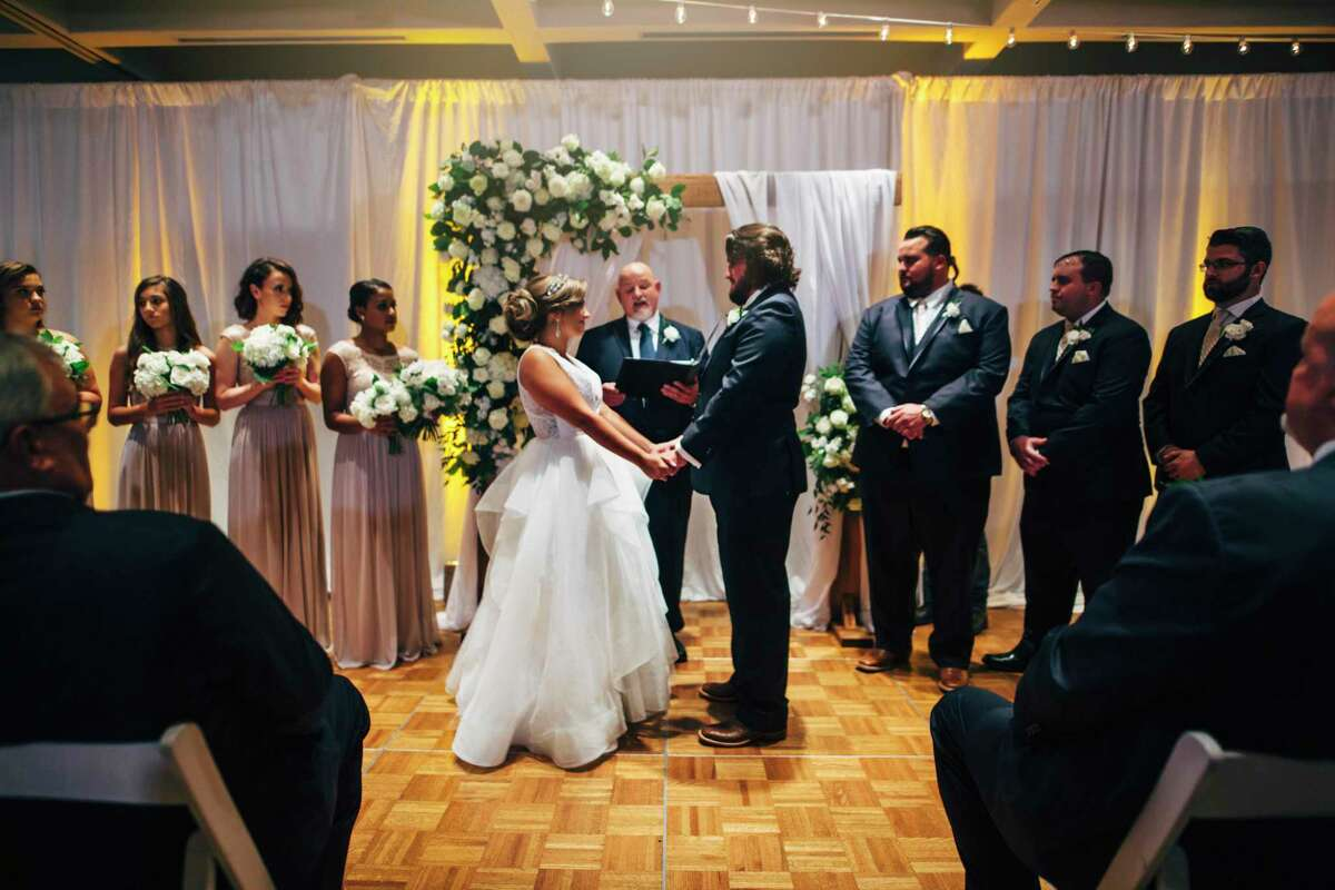 Britney George, who was getting married for the second time, and Jake George, getting married for the first, disagreed about how big to go with the ceremony and reception. Eventually, they compromised.