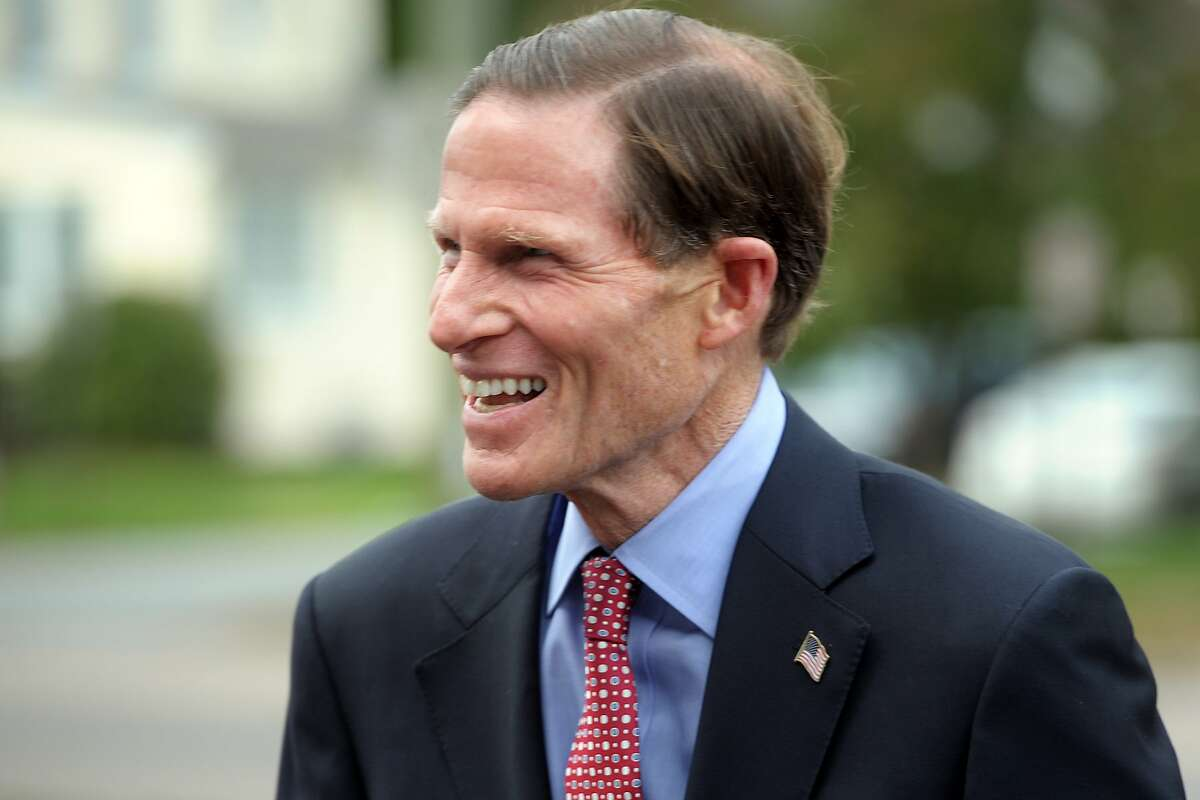 U.S. Senator Richard Blumenthal arrives at a press conference at Fairfield Fire Department headquarters, in Fairfield, Conn. Oct. 18, 2019.