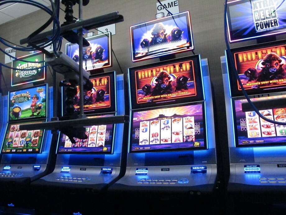 These slot machines are in a secure room at the New Jersey casino, connected to the internet. Photo: Wayne Parry / Associated Press