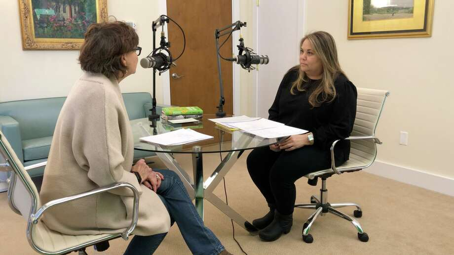 """Cindy Graziano, host of the """"Talking About It"""" podcast in New Canaan, talks about teen dating, and how to recognize an unhealthy relationship with Meredith Gold of the Greenwich YWCA. Photo: Contributed Photo / New Canaan Advertiser Contributed"""