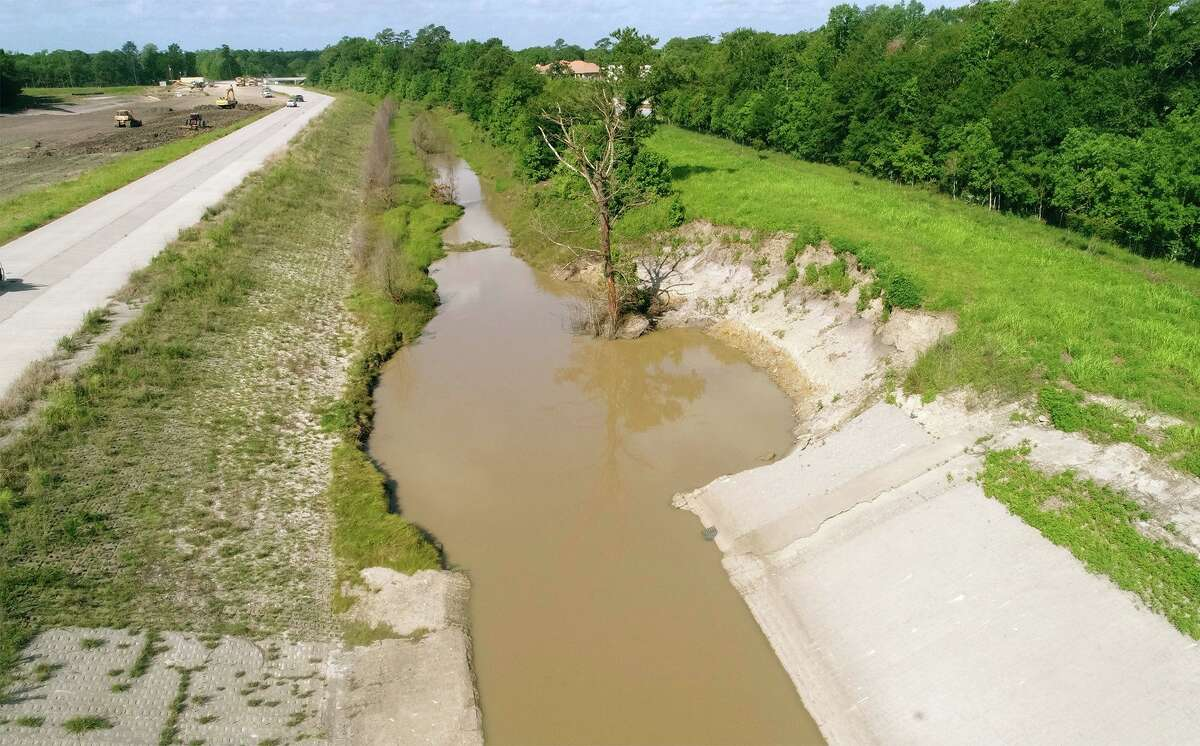 Levee damage from Tropical Storm Harvey at the Green Pond detention basin west of Fannett. The levee is part of the Taylor's Bayou master plan and Drainage District 6 expects repairs to begin in the next few months. Photo taken Friday, 5/24/19