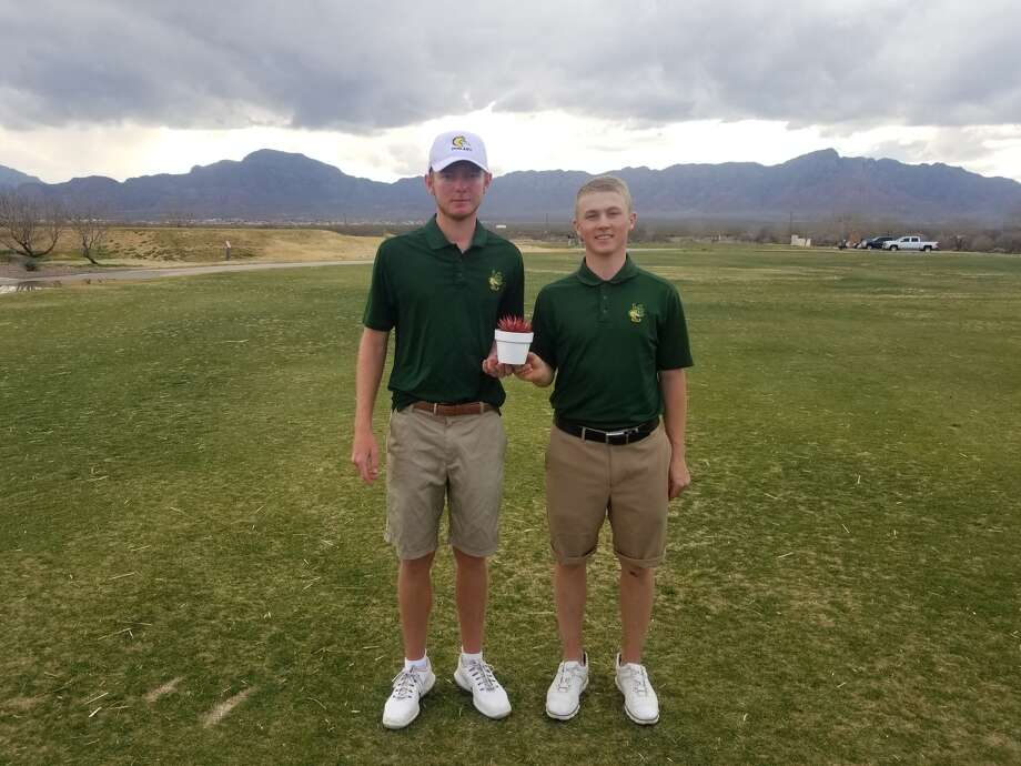 Midland College golfers George Saunders, left, and Josef Hacker shared the co-medalist title at The Cactus Thaw tournament in El Paso on Monday. Courtesy photo Photo: Courtesy Photo