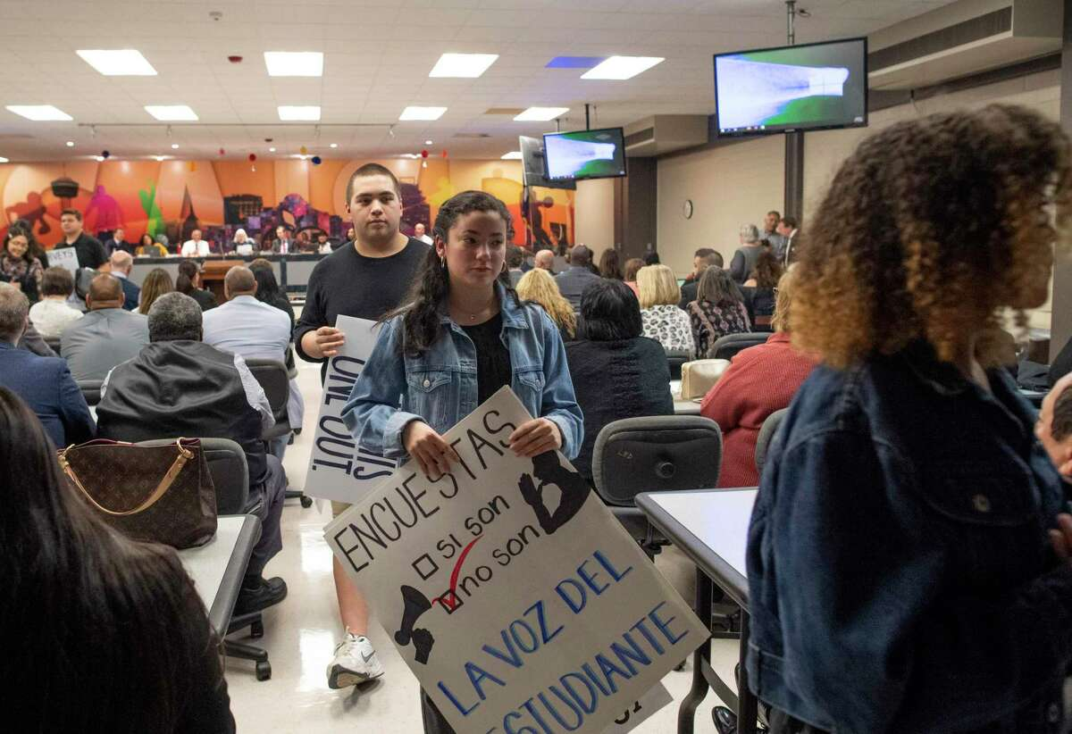 SAISD students leave after some spoke about the district's bill of rights at a board meeting at the Burnet Learning Center on Monday, Feb. 10, 2020. The students want more representation and some expressed concern about police on campus.
